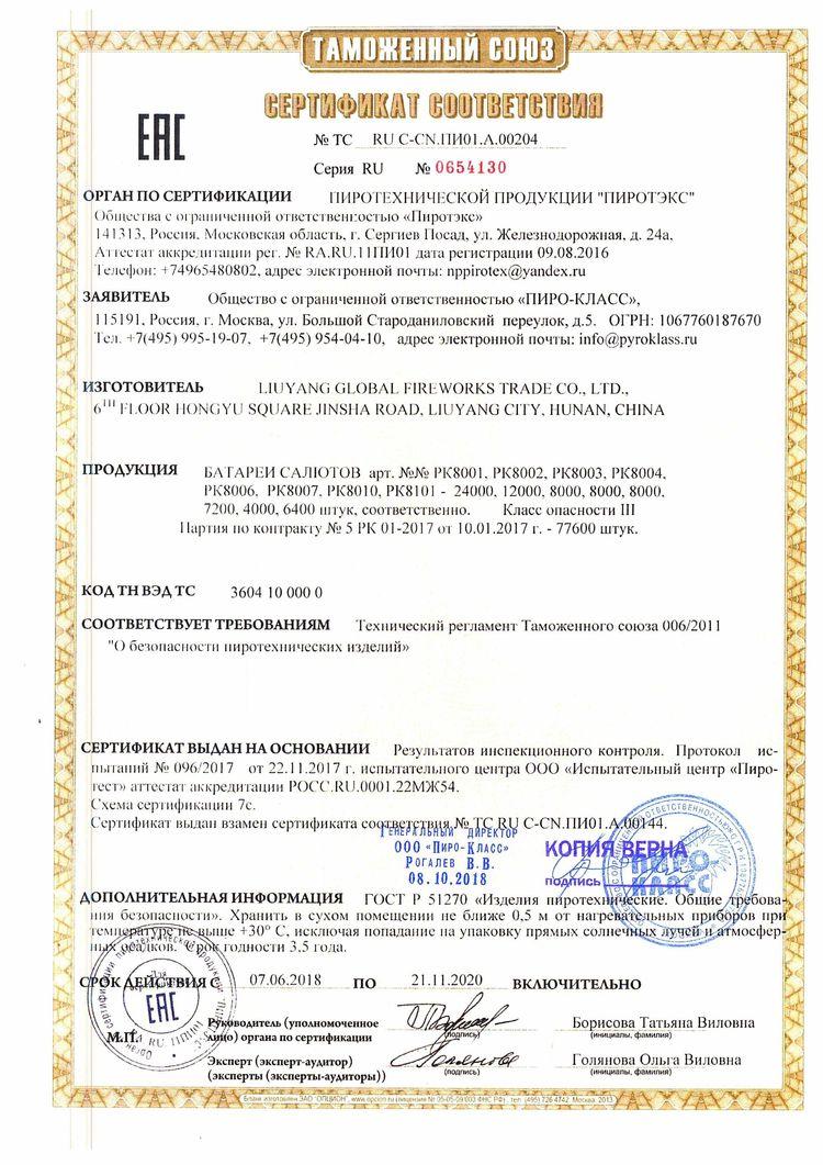 Сертификат на пиротехнику